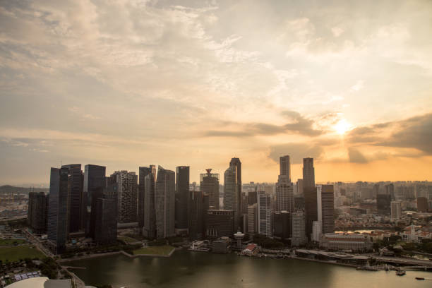 singapore skyline - historic vs new stock photos and pictures