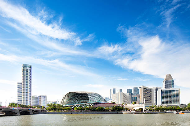 Singapore Skyline with Esplanade Theatre Singapore Skyline with Esplanade Theatre. esplanade theater stock pictures, royalty-free photos & images