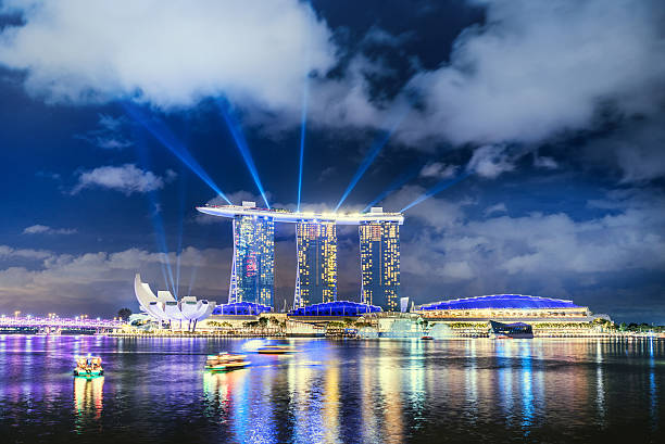 singapore skyline with marina bay sands hotel, singapore - marina bay sands stock photos and pictures