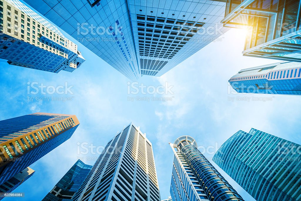 Singapore Skyscrapers, financial district of Raffles Place stock photo