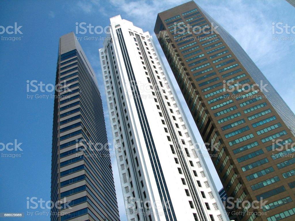 Singapore skyskrapor royaltyfri bildbanksbilder