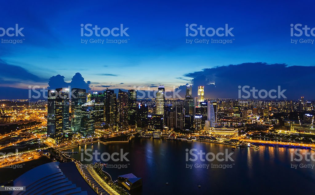 Singapore sunset at Marina Bay royalty-free stock photo