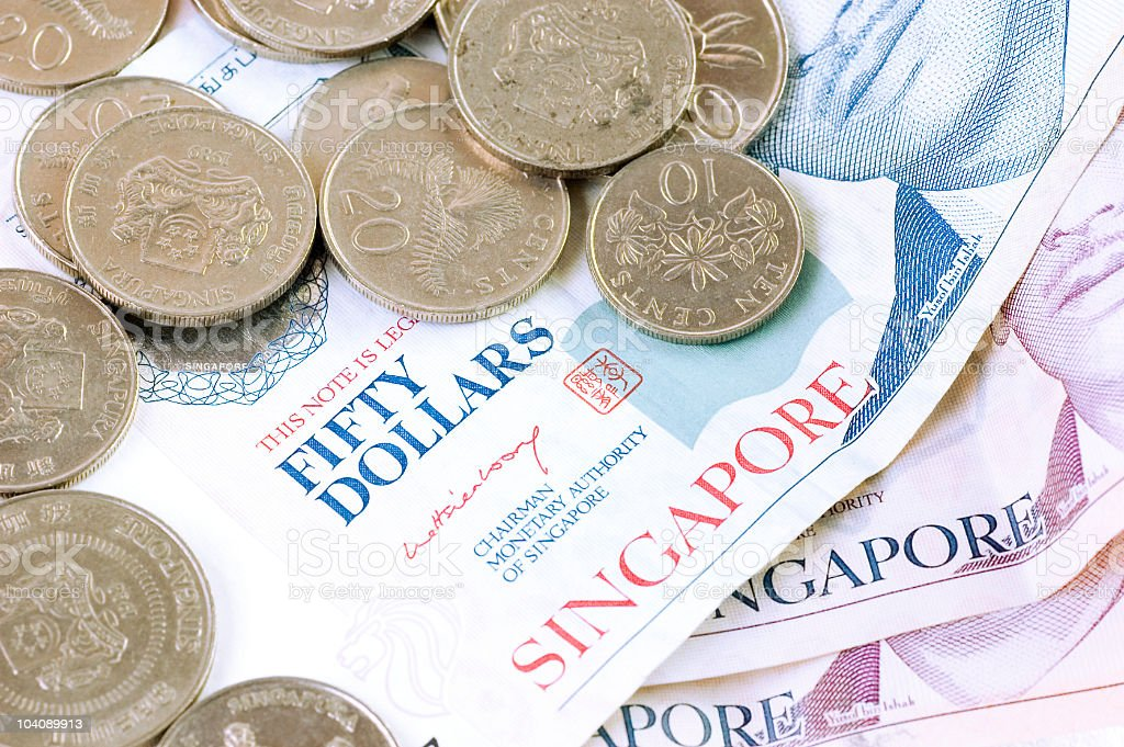 singaporean currency stock photo