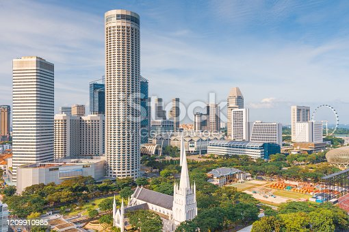Singapore's famous view of marina bay is a popular tourist attraction in the Marina District of Singapore.
