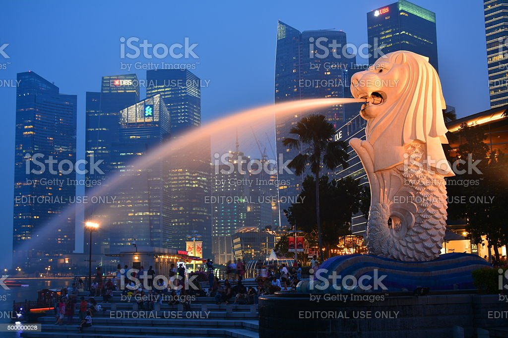 Singapore's financial district and Merlion stock photo