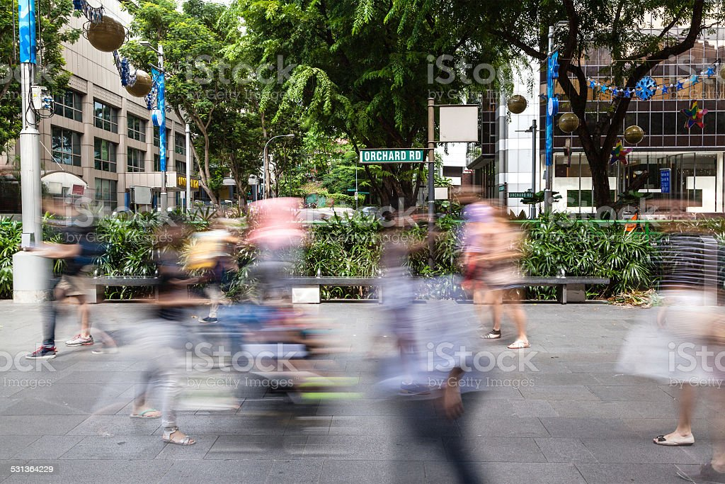 Singapore's Orchard Road With People Motion Blur stock photo