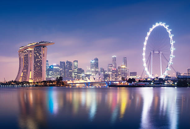singaporre skyline - marina bay sands stock photos and pictures