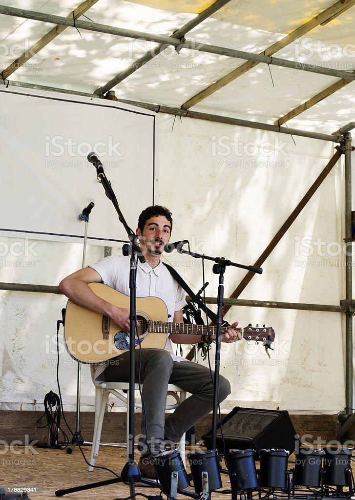 Singer at festival stock photo
