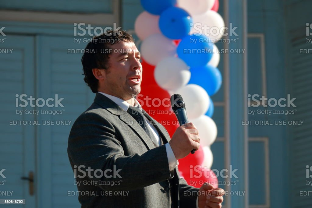 Singer from the Karachay-Cherkess Republic sings national songs stock photo