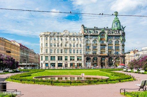 Saint Petersburg, Russia - June 2020: Singer (Zinger) House on Nevsky prospect and Kazan square