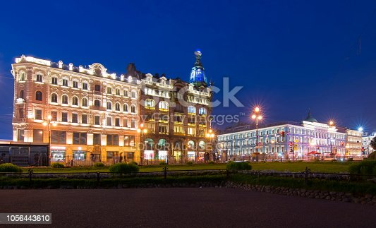 St. Petersburg, Russia - July 2018: Singer (Zinger) House on Nevsky prospect at night