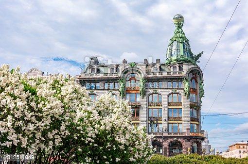 Saint Petersburg, Russia - June 2020: Singer (Zinger) House on Nevsky prospect in spring