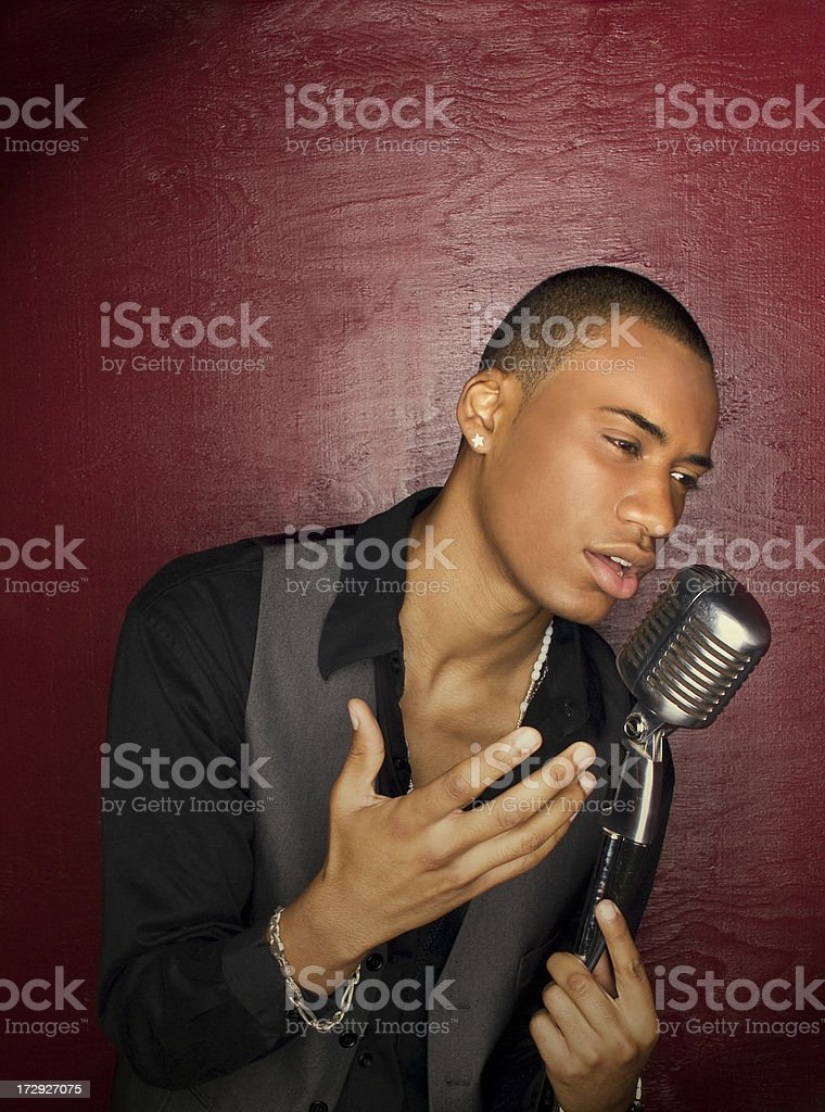 Singer In Spot Light stock photo