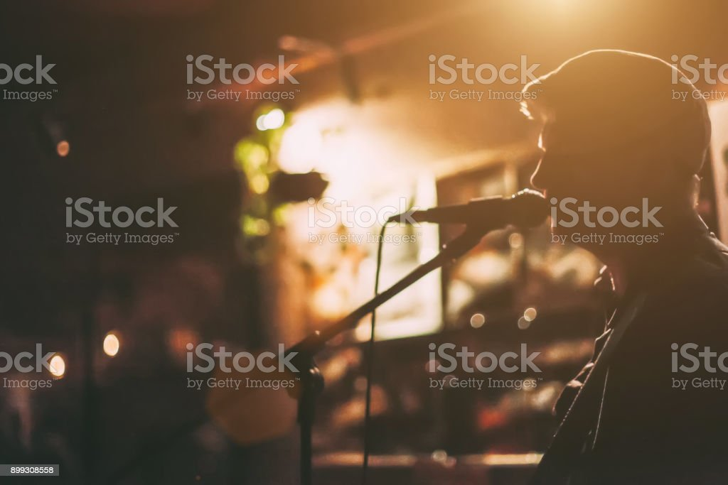 Singer on A Stage stock photo