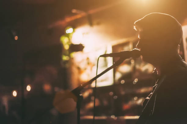 Singer on A Stage A male singer on a stage performing with guitar at a bar. singer stock pictures, royalty-free photos & images