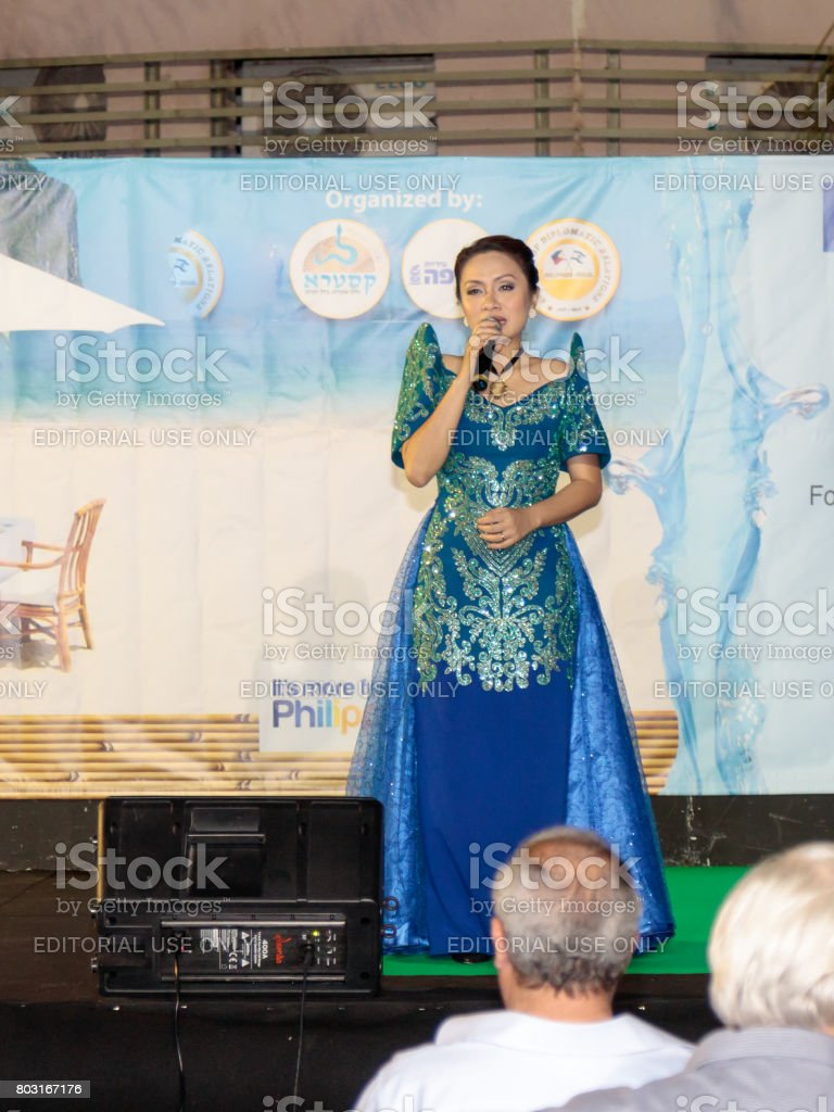 Singer performs a song at the celebration of the city's day in Nahariya, Israel stock photo