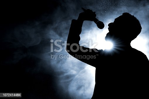 Singer singing silhouette