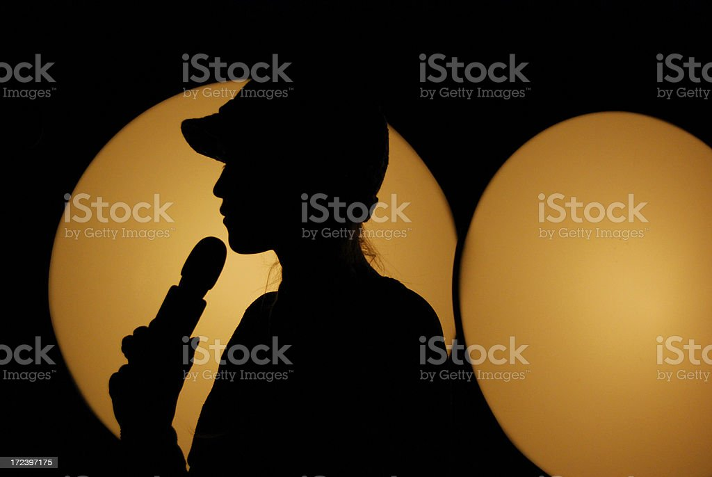 Singer with microphone royalty-free stock photo