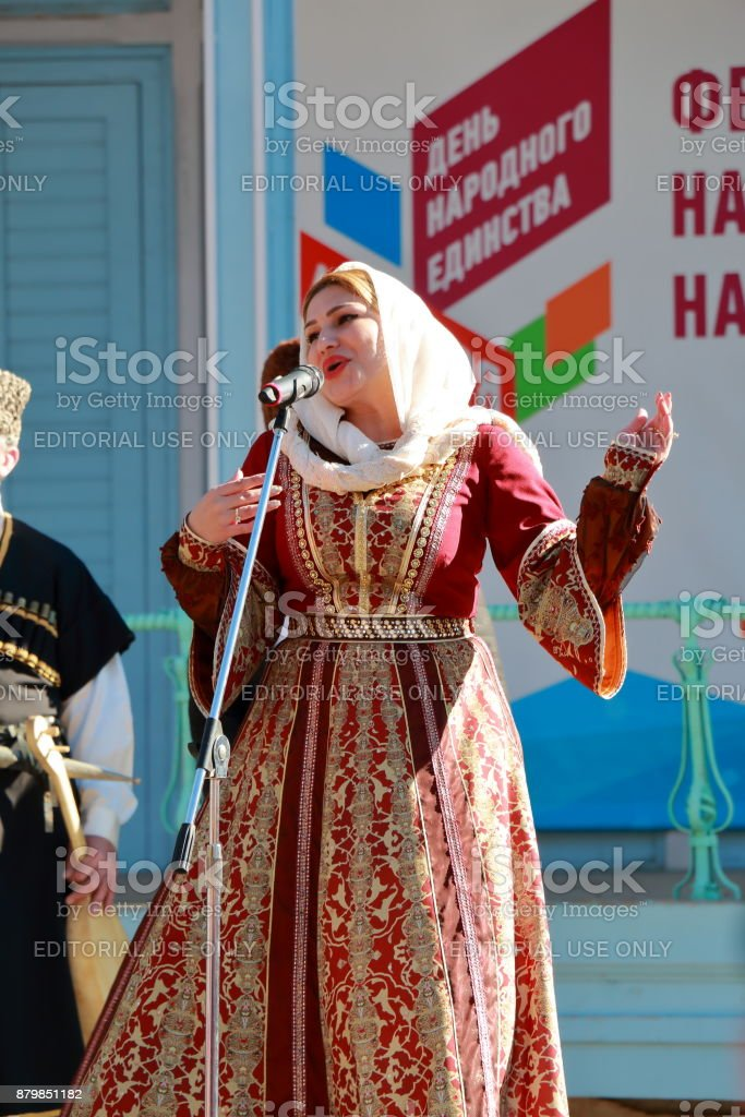 Singers in a national suit from the Republic of Dagestan stock photo