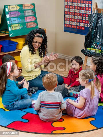 1155122702 istock photo Singing and Clapping During Circle Time 495534600