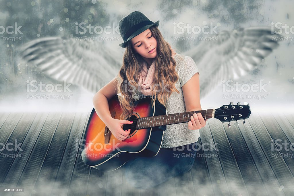 Singing Angel. stock photo