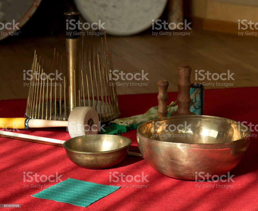 Singing bowl and Waterphone music stock photo