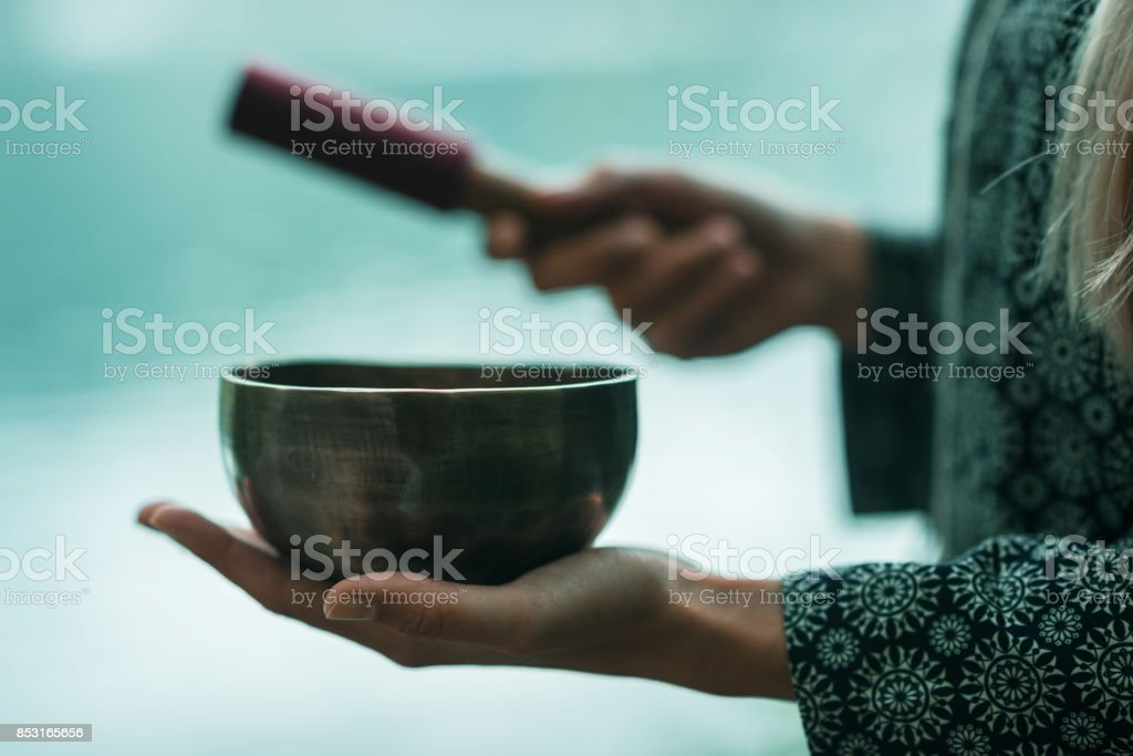 Singing bowl stock photo