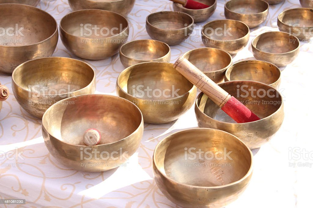 Singing bowls stock photo