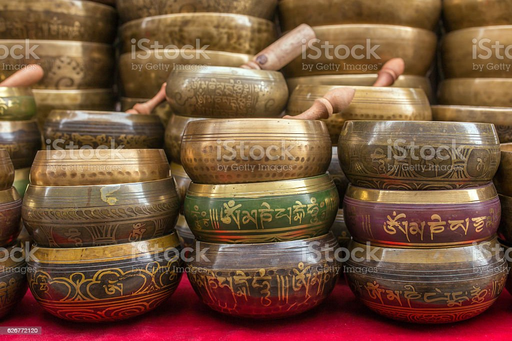 Singing Bowls (Cup of life) - popular souvenier in Nepal stock photo