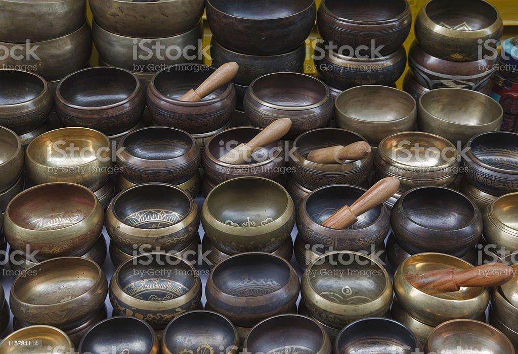 Singing Bowls Tibetan Sound Healing stock photo