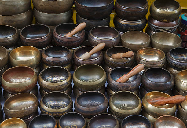 Singing Bowls Tibetan Sound Healing stock photo