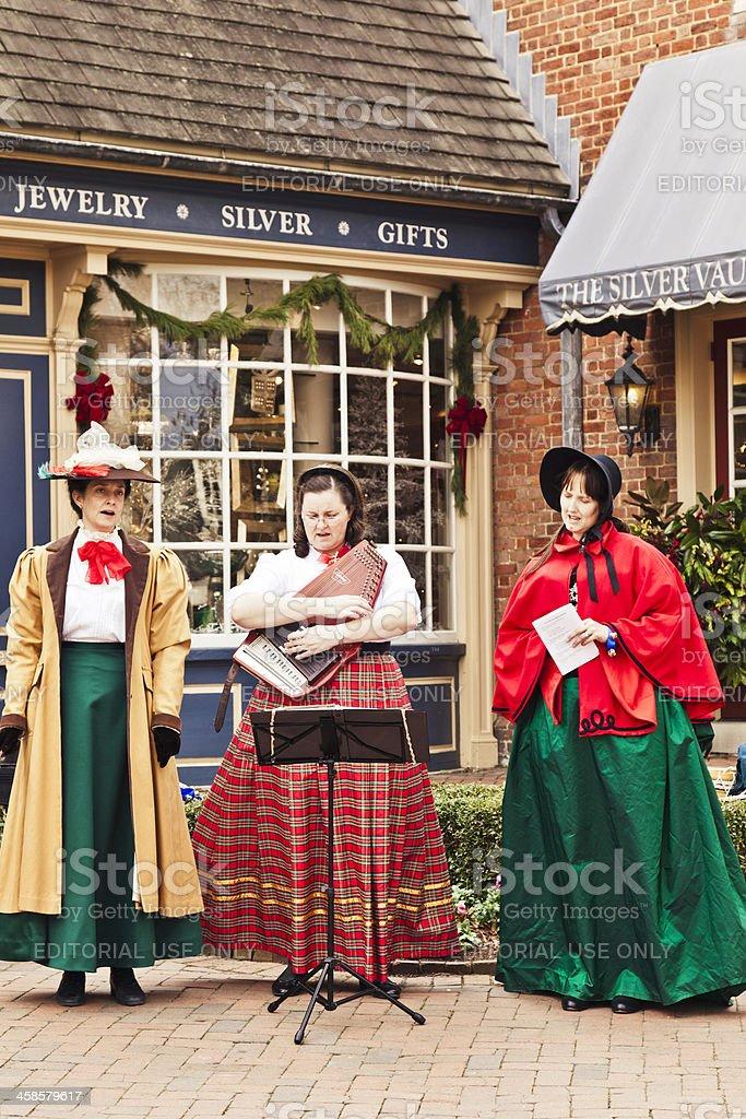 Singing Christmas Carols in Williamsburg stock photo