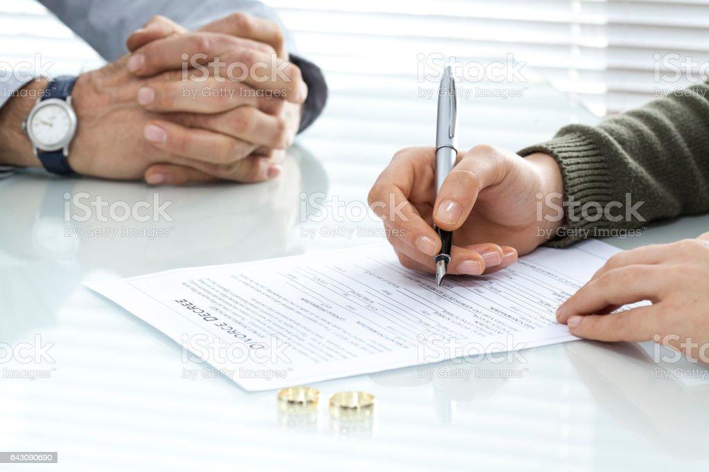 Singing divorce form stock photo