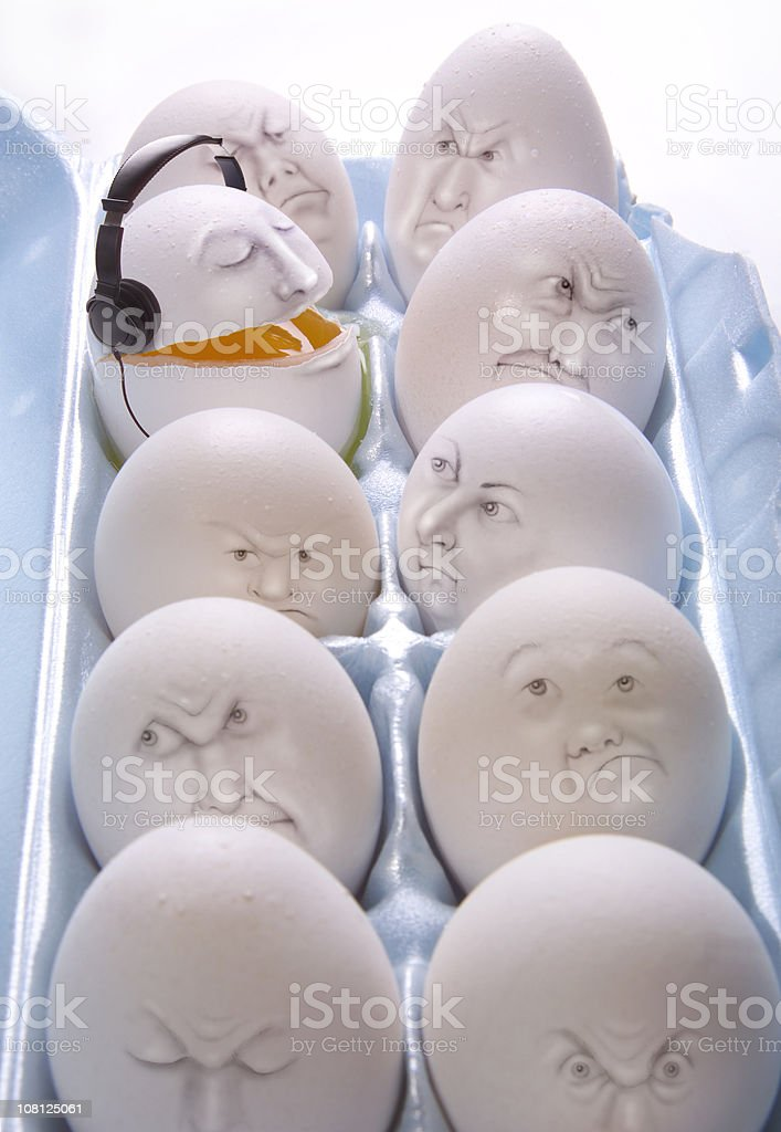 singing egg with headphones royalty-free stock photo