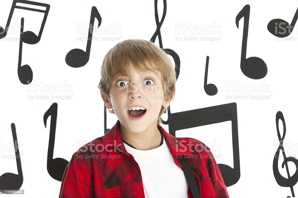 Singing funny boy royalty-free stock photo