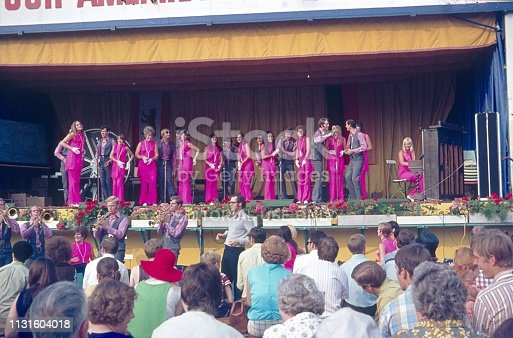 Zehlendorf, Berlin (West), Germany, 1968. American Vocal Group at the German American folk festival during a stage performance in front of an audience.