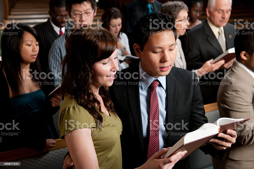 Singing Hymns in Church stock photo