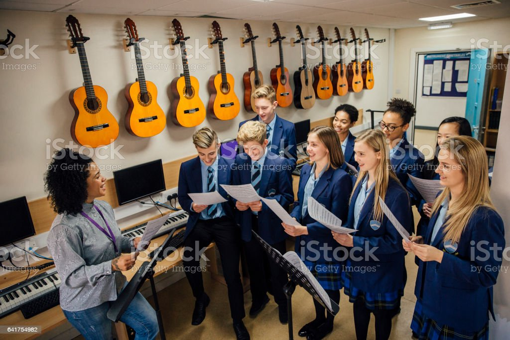 Singing In Music Lesson stock photo