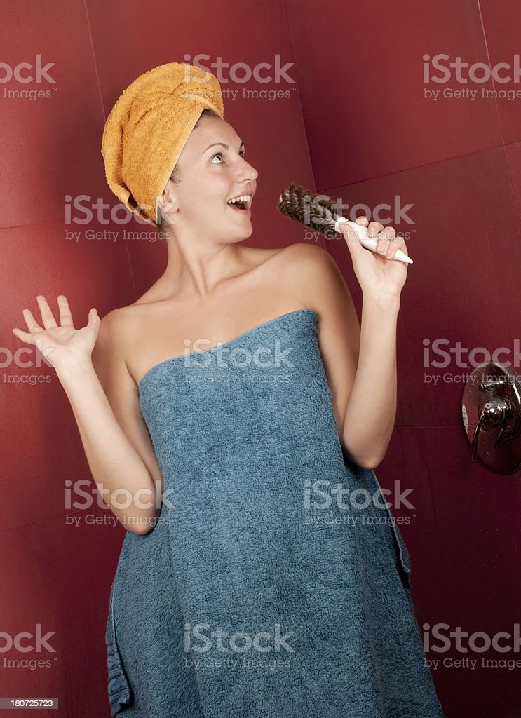 Singing in the Badroom royalty-free stock photo