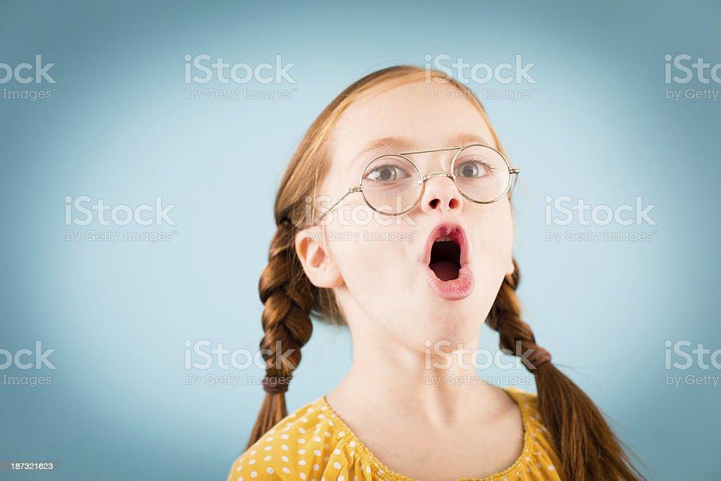 Singing Little Girl Wearing Vintage, Nerdy Glasses royalty-free stock photo