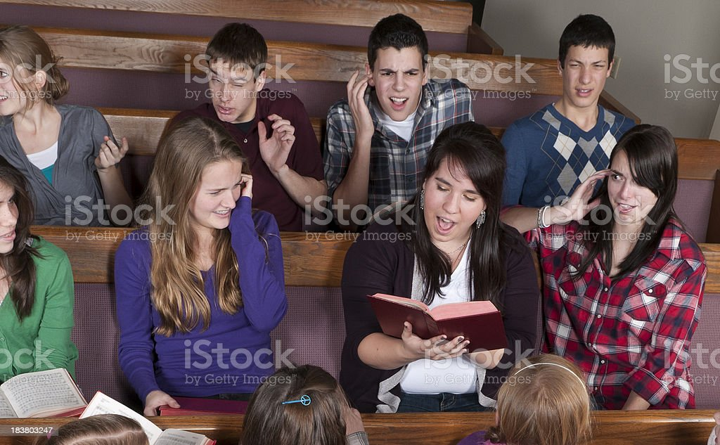 Singing Out of Tune in Church stock photo