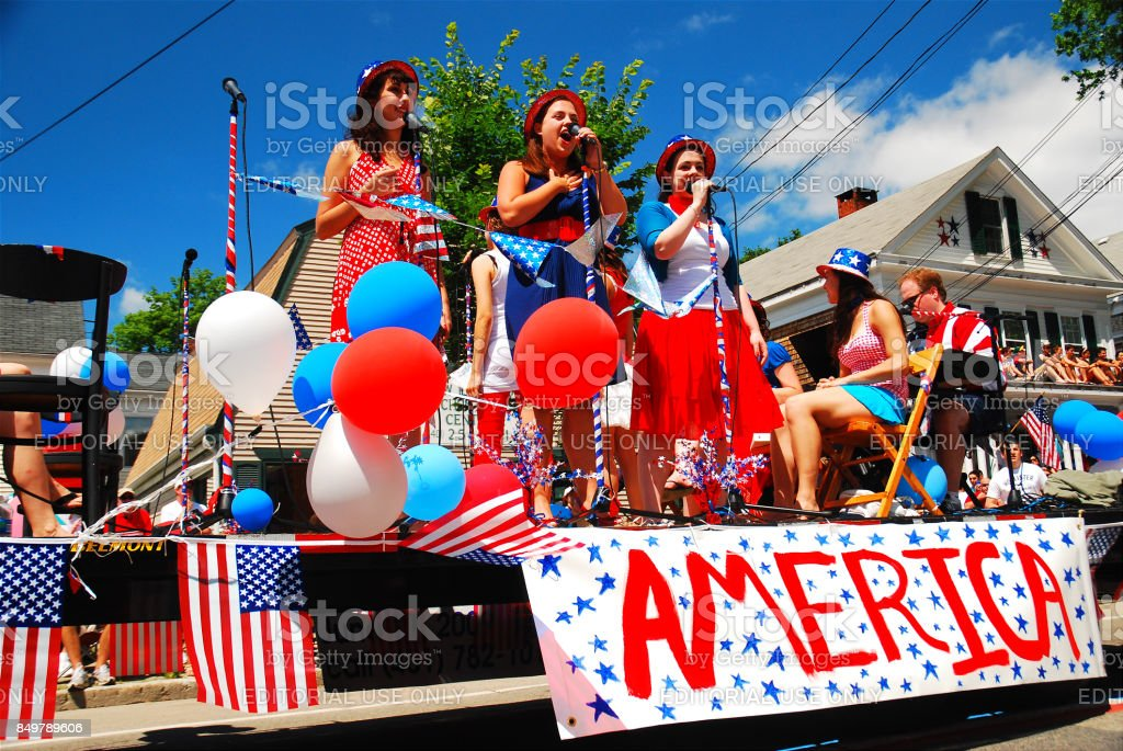 Singing Patriotic Tunes stock photo