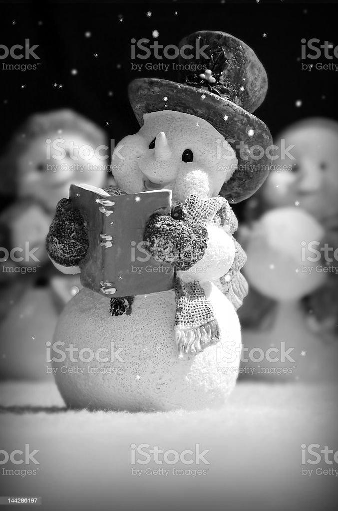 Singing Snowman stock photo