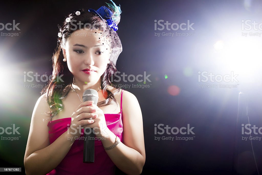 Singing woman of Asia stock photo