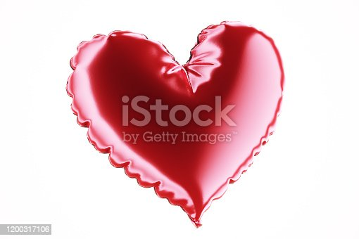 1035635902 istock photo Single Air Balloon. Red color heart shaped foil balloon isolated on white background. Love. Holiday celebration. Valentine's Day party decoration. Metallic red colour Heart 3d render. 1200317106