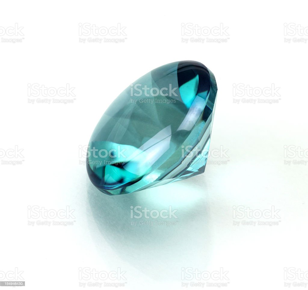 A single aquamarine or topaz round cut stone royalty-free stock photo