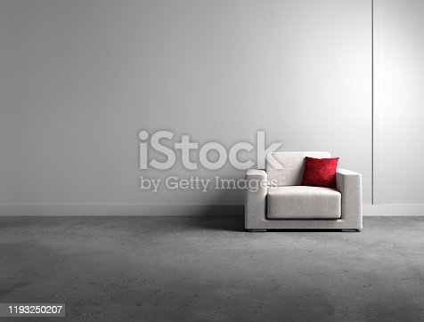 istock Single Armchair with red  cushion 1193250207