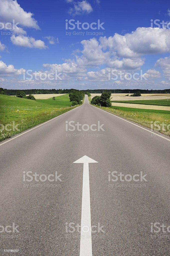 Single arrow pointing forward stock photo