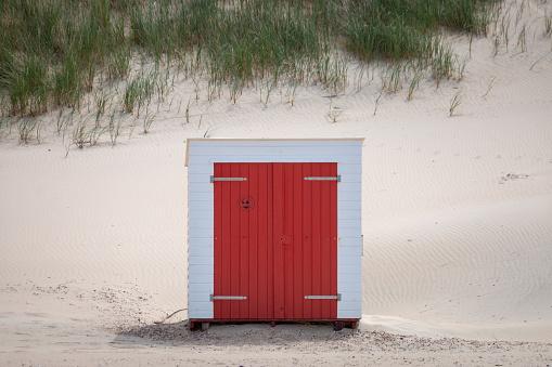 Single beach cabin at North Sea beach in Domburg, Zeeland, the Netherlands