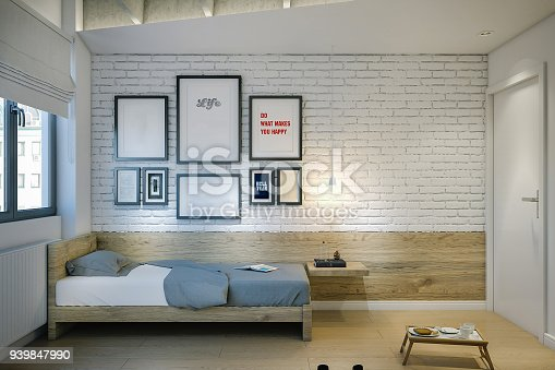 Small apartment room with single bed. Bedroom in a modern hostel